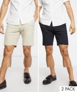 Navy-og sandfarvede smalle smarte shorts fra ASOS DESIGN 2-pak-Multifarvet