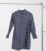 Wednesday's Girl -Maternity - Afslappet miniskjortekjole med polkaprikker-Marineblå
