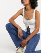 Topshop - Jeans med svaj i mid wash blå