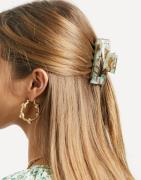 ASOS DESIGN - Firkantet hårklemme i grøn og brun resin