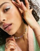 ASOS DESIGN - Perlehalskæde med margeritter og imiterede perler-Multifarvet