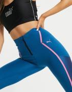 Puma Train - Højtaljede, lange leggings med lynlås i blåt, bonded stof