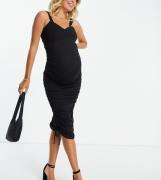 ASOS DESIGN Maternity - Rynket bodycon-midikjole i sort med hjerteformet udskæring