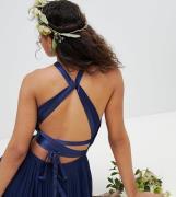 Plisseret brudepige maxikjole med krydset ryg og sløjfe detaljer fra TFNC Tall-Marineblå