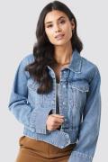 NA-KD Trend Cropped Big Pocket Denim Jacket - Blue