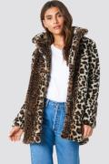 NA-KD Trend Faux Fur Leo Jacket - Brown