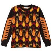 Stella McCartney Kids Black and Orange Lucky Jumper with Flame Print 2 years