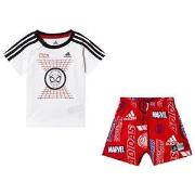 adidas Performance Spiderman T-shirt and Shorts Set White/Red 3-6 months (68 cm)