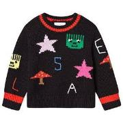 Stella McCartney Kids Geometric Intarsia Knit Sweater Black 2 years