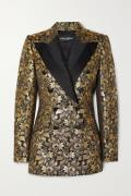 Dolce & Gabbana - Double-breasted Metallic Floral-jacquard Blazer - Gold