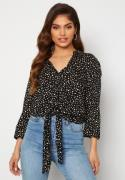 Happy Holly Juliette ss knot shirt Black / Offwhite 36/38